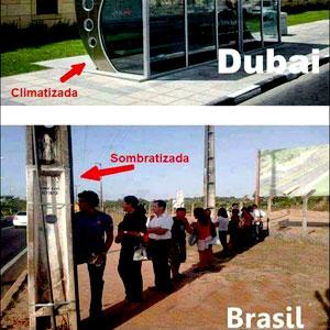 Paradas de Ônibus no Brasil e Dubai