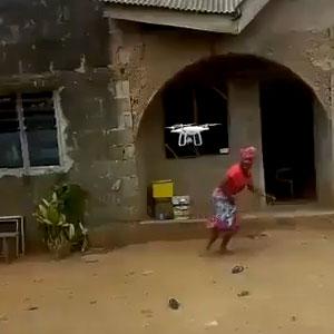 Primeira vez que a tia viu um drone