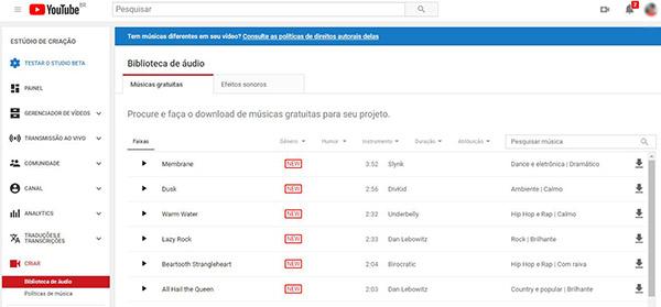 Youtube - Biblioteca gratuita de músicas
